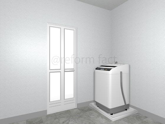 浴室折れ戸,交換後,ホワイト,樹脂,中残あり