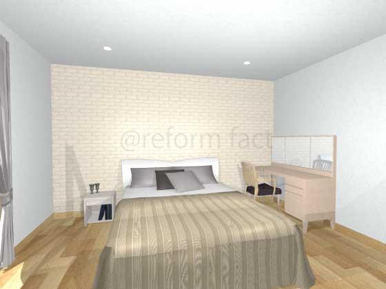 寝室アクセントクロス,白色,レンガ柄,ナチュラル