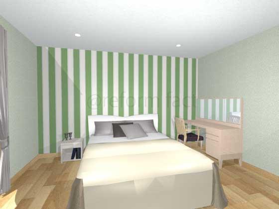 寝室アクセントクロス,緑色,ボーダー