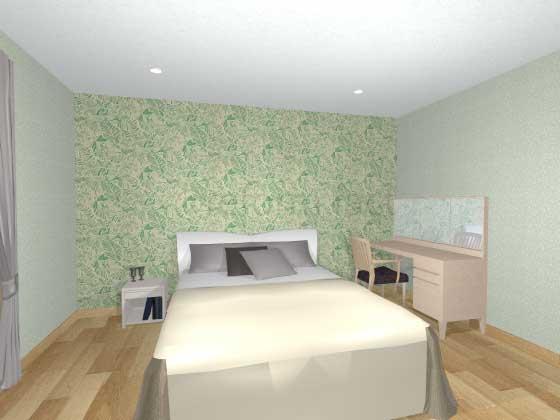 寝室アクセントクロス,緑色,柄,ナチュラル