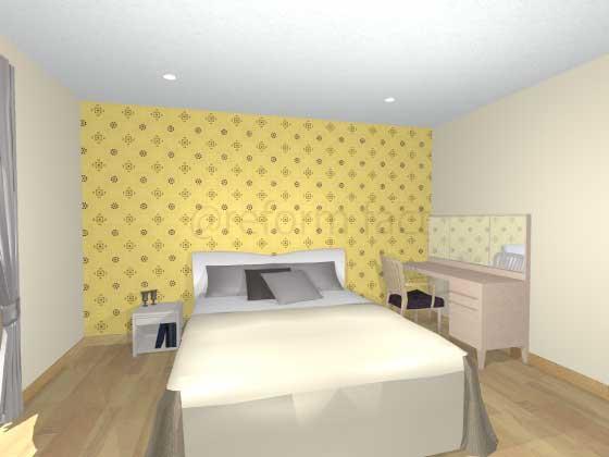 寝室アクセントクロス,黄色,ポップ