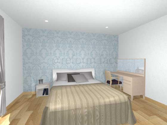 寝室アクセントクロス,青色,柄