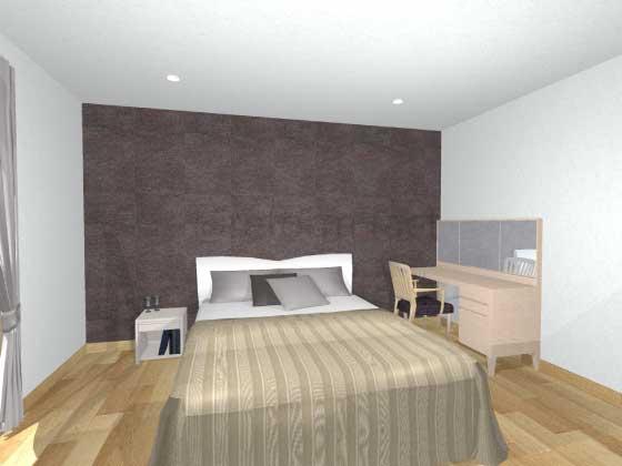 寝室アクセントクロス,茶色,タイル