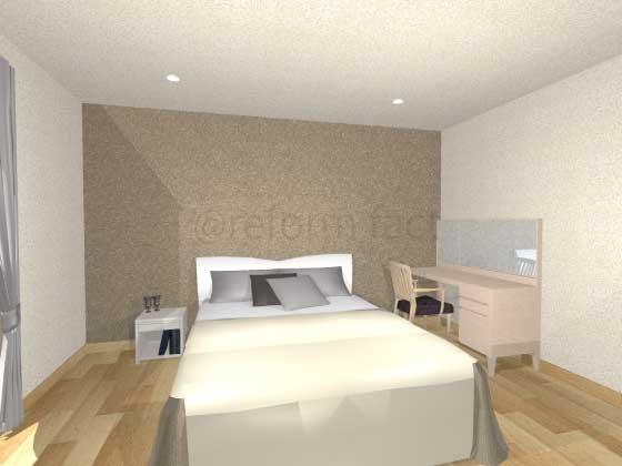 寝室アクセントクロス,薄い茶色