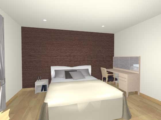 寝室アクセントクロス,茶色,木目,ナチュラル