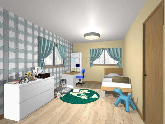 子供部屋,アクセントクロス,男の子,ポップ,グレー・緑色(チェック柄),黄色