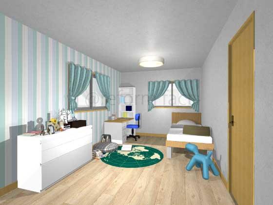 子供部屋,アクセントクロス,男の子,ポップ,青色・緑色(ストライプ柄)