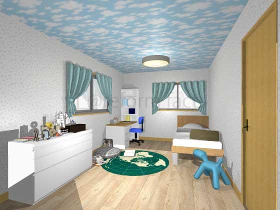 子供部屋,アクセントクロス,男の子,ポップ,白色(柄),青色(空柄)