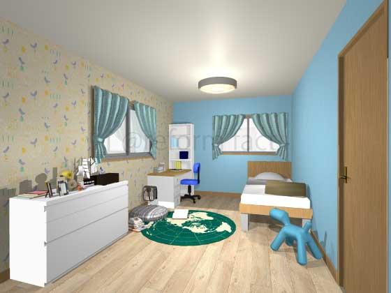 子供部屋,アクセントクロス,男の子,黄色(柄色),青色