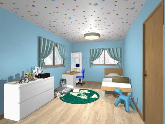 子供部屋,アクセントクロス,男の子,ポップ,青色