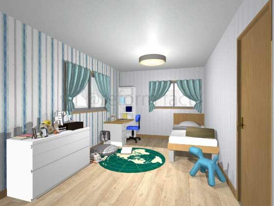 子供部屋,アクセントクロス,男の子,ポップ,青・緑色(ストライプ柄),白色(ストライプ柄)