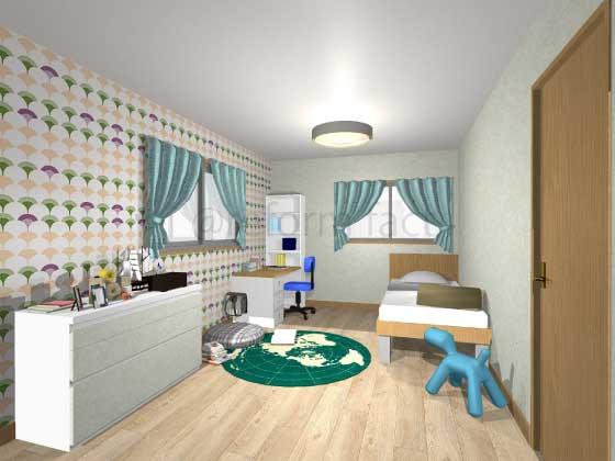 子供部屋,アクセントクロス,男の子,ポップ,黄色・緑色(柄),薄い黄緑色
