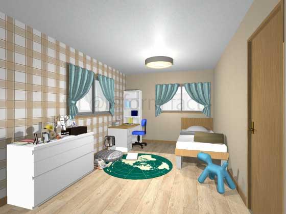 子供部屋,アクセントクロス,男の子,カジュアル,黄色,茶色(チェック柄),薄い茶色