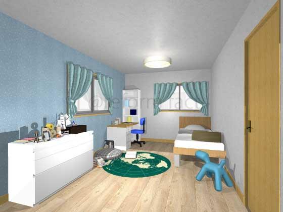 子供部屋,アクセントクロス,男の子,シンプル,青色