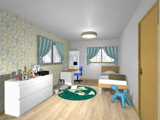 子供部屋,アクセントクロス,男の子,ポップ,柄色