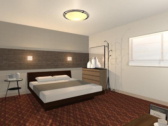 寝室,カーペット,赤色,柄あり