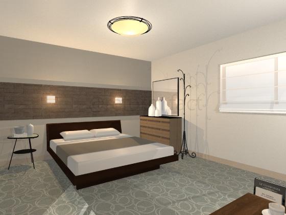 寝室,カーペット,グレー,楕円柄