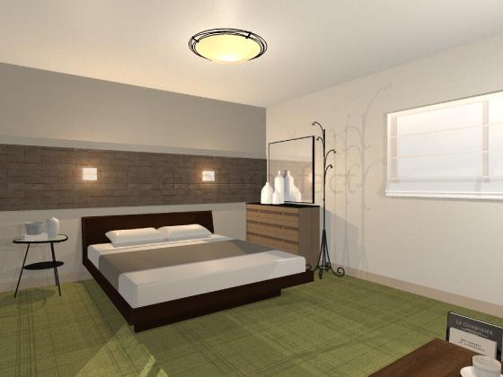 寝室,カーペット,緑色,直線柄