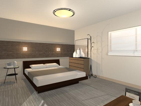 寝室,カーペット,グレー,ストライプ柄