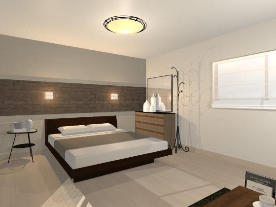 寝室,カーペット,タイル柄,ベージュ
