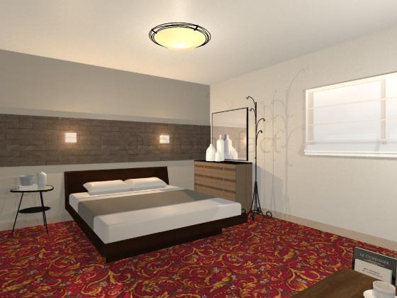 寝室,カーペット,赤色,幾何学模様