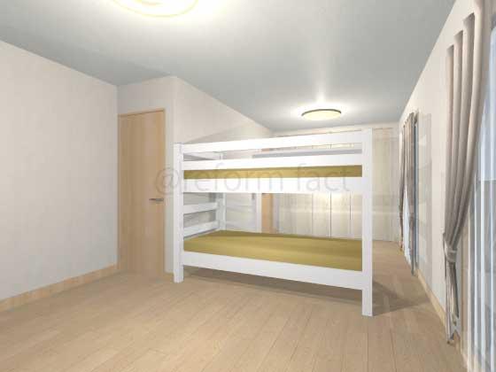 子供部屋,間仕切り壁工事,工事後,イメージ,二段ベッド