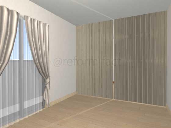 子供部屋,間仕切り壁工事,工事後,アコーディオンカーテン,イメージ,ベージュ