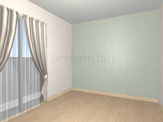 子供部屋,間仕切り壁工事,工事後,イメージ,アクセントクロス,水色