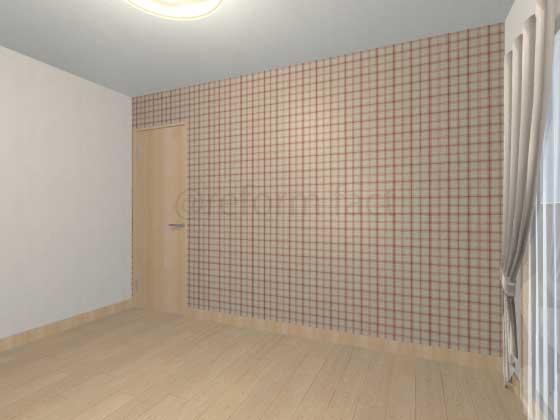 子供部屋,間仕切り壁工事,工事後,イメージ,アクセントクロス,チェック柄