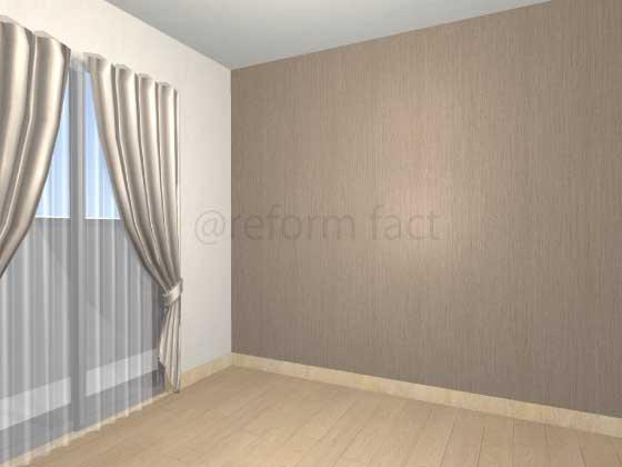 子供部屋,間仕切り壁工事,工事後,イメージ,アクセントクロス,茶色