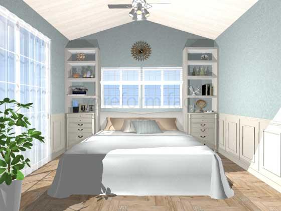 寝室,アクセントクロス,コースタル