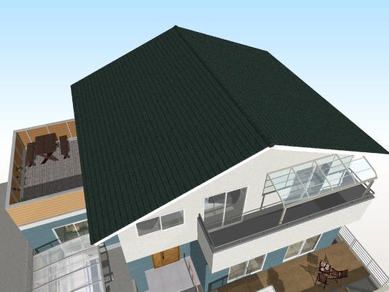 カラーベスト,張り替え後,工事後,緑色,スレート屋根