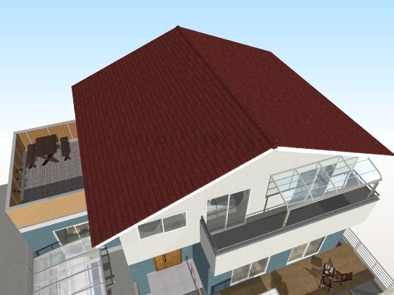 カラーベスト,張り替え後,工事後,赤色,スレート屋根