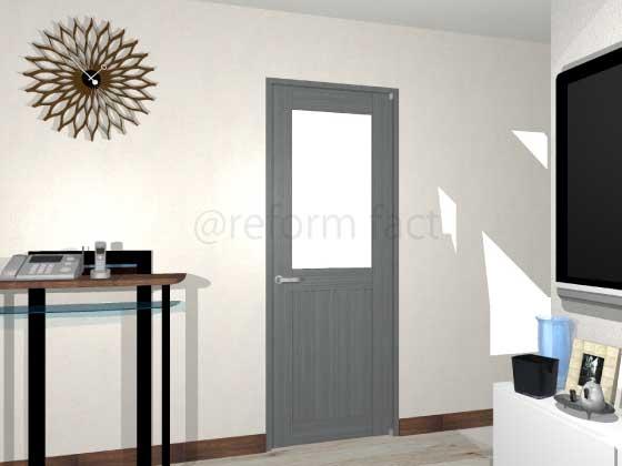 扉ドアシート張り,グレー木目,開き戸