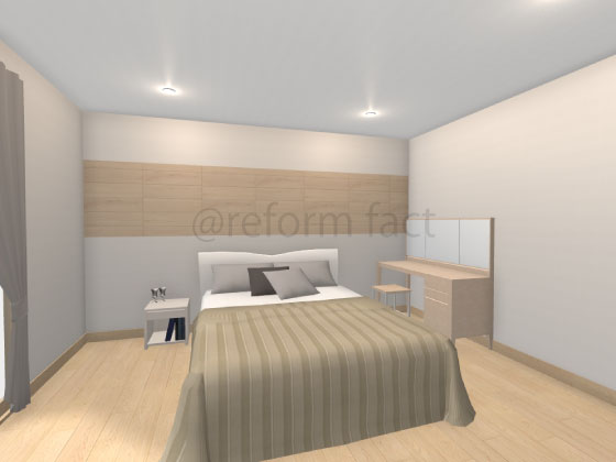 寝室,エコカラット,ビンテージオーク