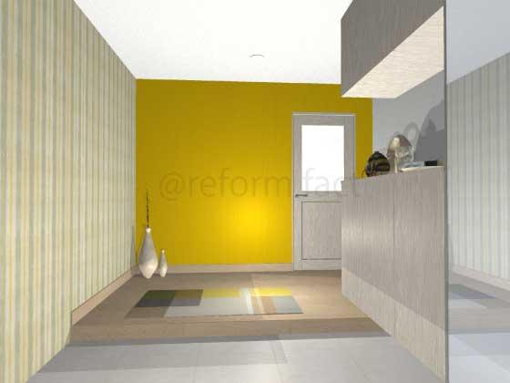 玄関アクセントクロス,ポップ,黄色,緑色,ストライプ柄