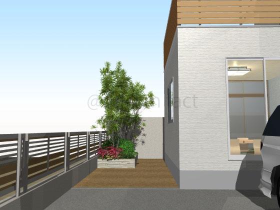庭,土,コンクリート,工事前