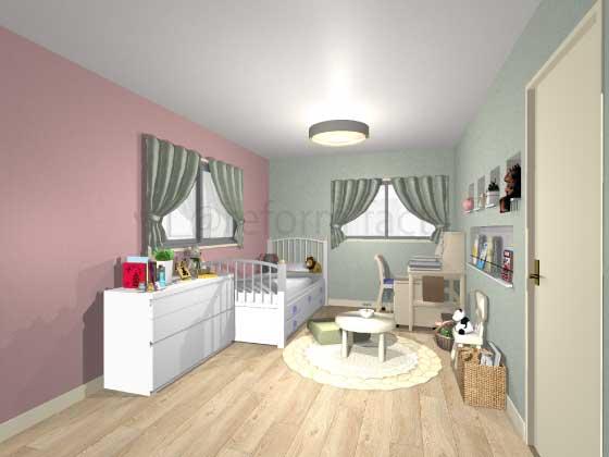 子供部屋,アクセントクロス,女の子,モダン,ピンク,緑色