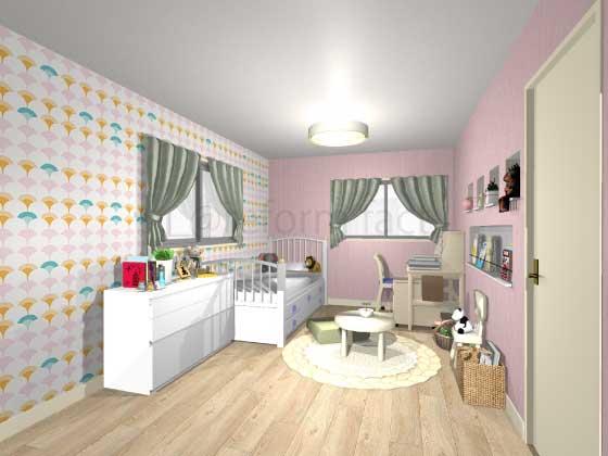 子供部屋,アクセントクロス,女の子,ピンク(柄色),プリティ
