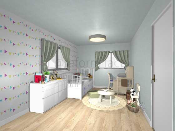 子供部屋,アクセントクロス,女の子,ポップ,柄色,水色