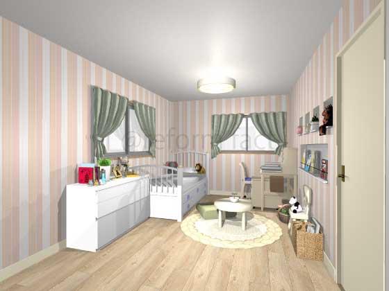 子供部屋,アクセントクロス,女の子,プリティ,ピンク,ストライプ柄