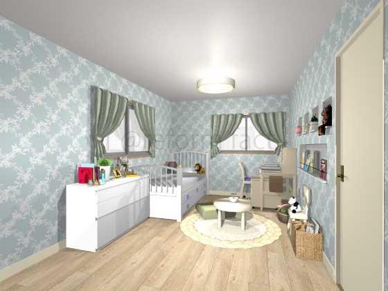 子供部屋,アクセントクロス,女の子,ラグジュアリー,水色,柄
