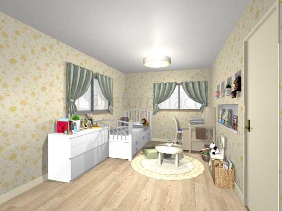 子供部屋,アクセントクロス,女の子,プリティ,黄色,花柄