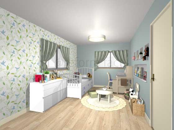 子供部屋,アクセントクロス,女の子,ナチュラル,青色,緑色