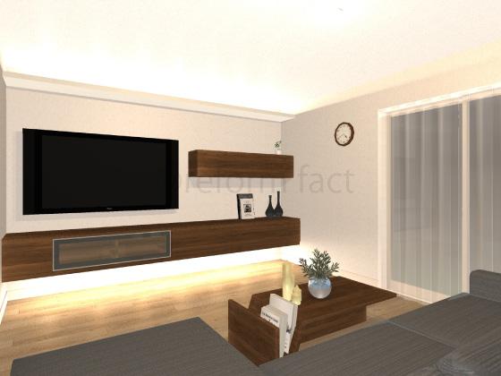 リビング,コーブ照明,家具埋め込み照明