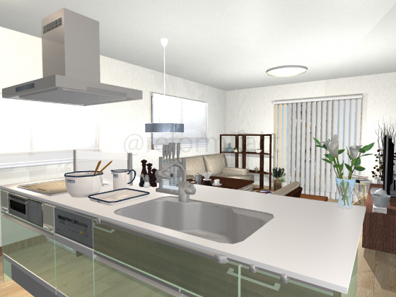 アイランドキッチン,手元が見える,緑色,キッチン視点