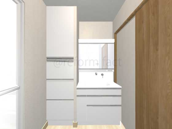 洗面所,洗面台スペース,サイドキャビネット,リネン庫リフォーム,工事後,イメージ