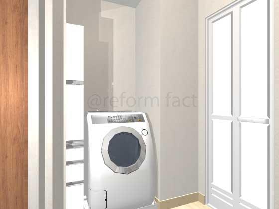 洗面所,洗濯機スペース,リネン庫リフォーム,工事後,イメージ