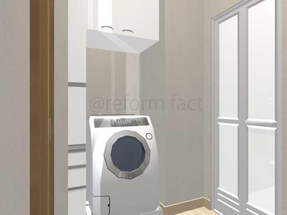 洗面所,洗濯機スペース,吊り戸,リネン庫リフォーム,工事後,イメージ