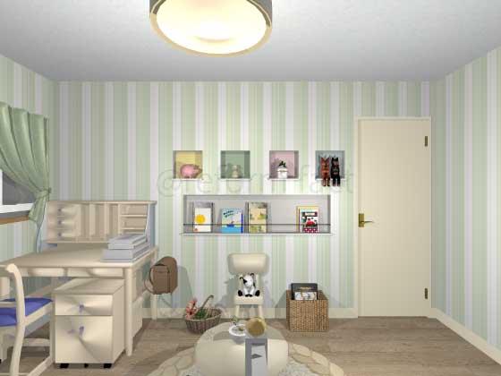 子供部屋,ニッチ収納,アクセントクロス
